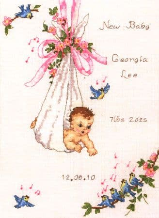 Vintage Baby Sampler Cross Stitch Kit