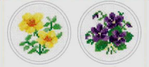 Yellow Posy & Violet Posy Cross Stitch Kit