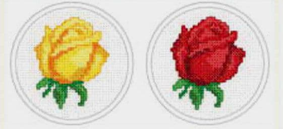Yellow Rose & Red Rose Cross Stitch Kit