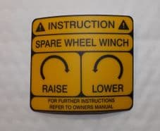 Spare wheel instruction sticker.