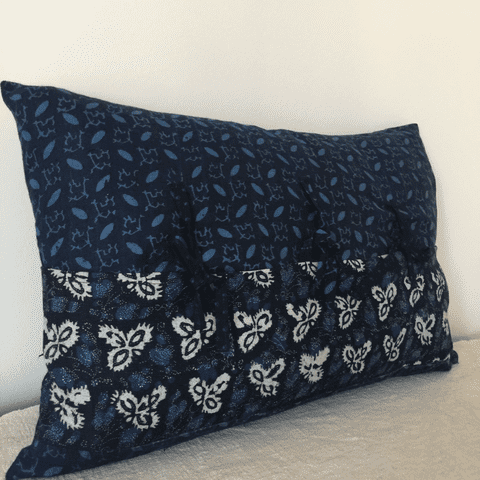 Bolster Cover from Vintage Slovakian Indigo Dyed  Linen