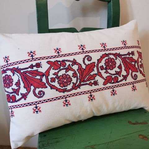 Cushion Cover from Antique Transylvanian Embroidery