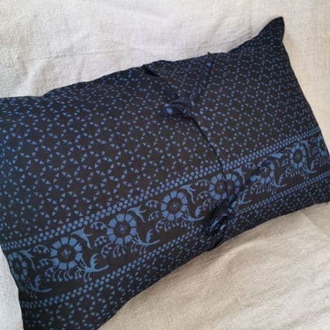 Cushion Cover from Resist Dyed  Indigo Linen ..