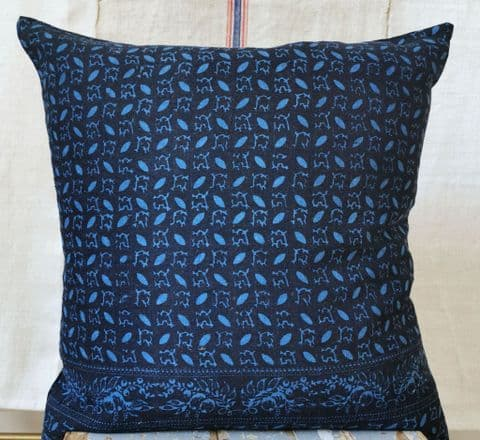 Cushion Cover from Resist Dyed Slovakian Indigo Linens