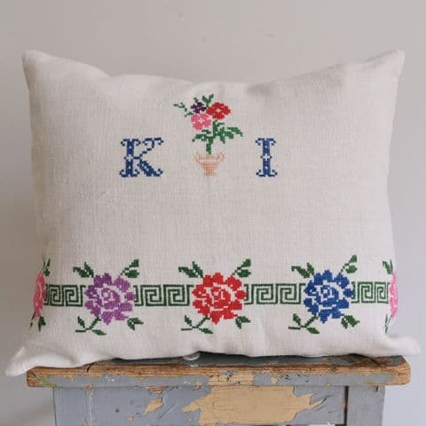 Cushion Cover from Vintage Hand Embroidery.