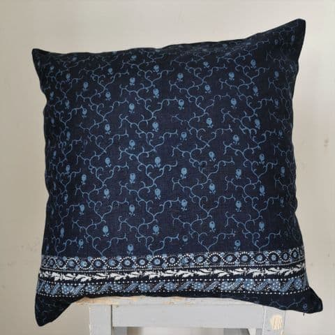 Cushion Cover from Vintage Resist Dyed Indigo Linen ...