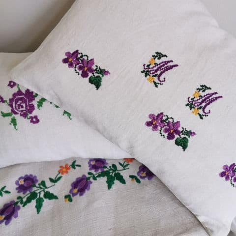 Cushion from Vintage Embroidery  .1 available.MM Monogram