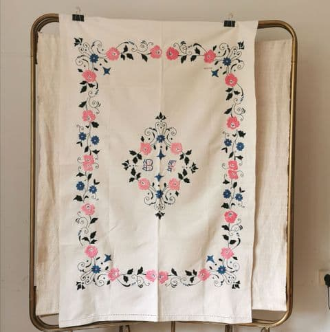 Hand Embroidered Table Cloth.  150 x 93 cm/ BE Monogran