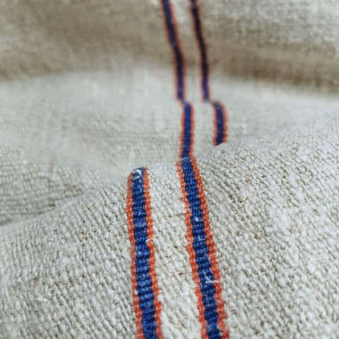 Nubby vintage linen with orange and blue stripes 370 cm available