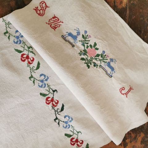 Vintage Embroidered Cloth 96 x 48cm