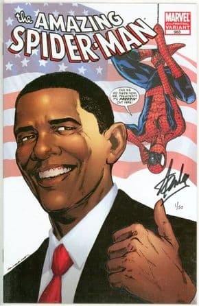Amazing Spider-man #583 Obama Variant Dynamic Forces Signed Stan Lee DF COA #1 Marvel comic book