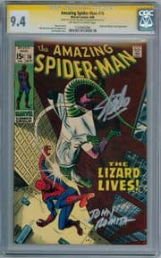 Amazing Spider-man #76 1969 CGC 9.4 Signature Series Signed Stan Lee John Romita Sr Lizard Marvel