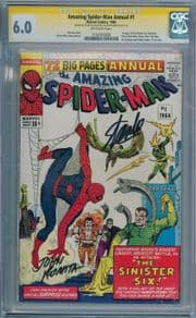 Amazing Spider-man Annual #1 CGC 6.0 Signature Series Signed Stan Lee & John Romita Sr Marvel comic