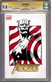 Avengers #1 Blank CGC 9.8 Signature Series Signed Mike Perkins Captain America Sketch Marvel comic