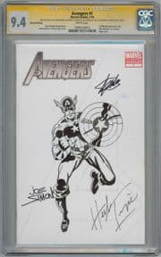 Avengers #1 CGC 9.4 Signature Series Signed Stan Lee Joe Simon Herb Trimpe Cap Sketch Marvel comic