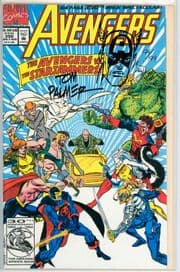 Avengers #350 Dynamic Forces Signed & Remarked Tom Palmer Captain America Sketch Marvel comic