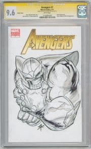 Avengers #7 Blank Variant CGC 9.6 Signature Series Signed Steve Kurth Thanos Sketch Movie
