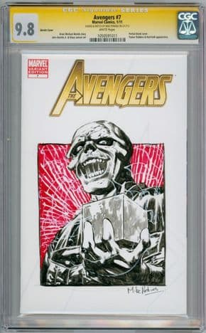 Avengers #7 CGC 9.8 Signature Series Signed Mike Perkins Red Skull Sketch OA Movie Marvel comic book