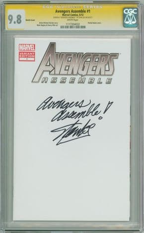 Avengers Assemble #1 Blank CGC 9.8 Signature Series Signed Stan Lee & Quote Movie Marvel comic