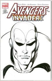 Avengers Invaders #1 Dynamic Forces Authentix Signed Joe Rubinstein Remarked Vision Sketch DF COA