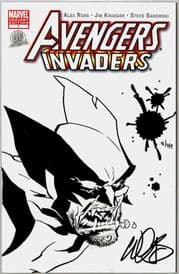 Avengers Invaders #1 Dynamic Forces Authentix Variant Signed John Lucas Remarked Wolverine Sketch DF COA #8 Marvel comic