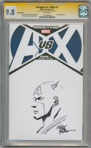 Avengers Vs. X-Men #1 Blank CGC 9.8 Signature Series Signed Steve Epting Captain America Sketch Marvel comic