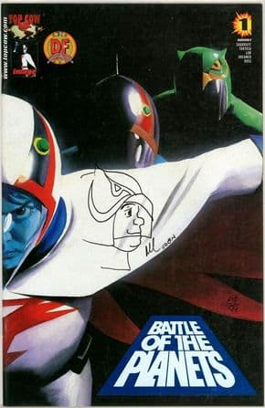 Battle of the Planets #1 Dynamic Forces Alternate Signed Remarked Tiny Sketch DF COA Ltd 99