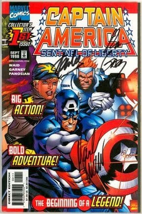 Captain America Sentinel of Liberty #1 Dynamic Forces Signed x3 Stan Lee Waid Garney DF COA Marvel