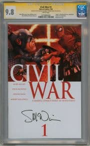 Civil War #1 First Print CGC 9.8 Signature Series Signed Steve McNiven Marvel comic book Mark Millar