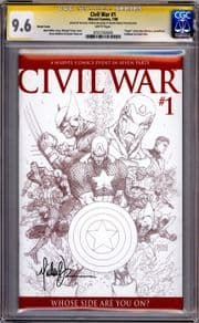 Civil War #1 Sketch Variant CGC 9.6 Signature Series Signed Michael Turner Marvel comic