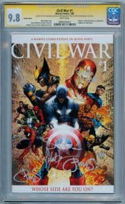 Civil War #1 Turner Variant CGC 9.8 Signature Series Signed x3 Michael Turner Marvel comic book