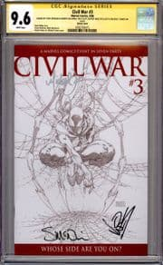 Civil War #3 Sketch Variant CGC 9.6 Signature Series Signed x4 Michael Turner Marvel comic book