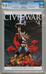 Civil War #4 Michael Turner Thor Retail Incentive Variant CGC 9.8 Marvel comic book