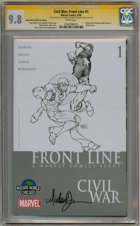 Civil War Front Line #1 Wizard World Chicago Variant CGC 9.8 Signature Series Signed Michael Turner