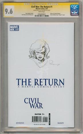 Civil War The Return #1 CGC 9.6 Signature Series Signed Captain Marvel Sketch B Movie