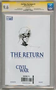 Civil War The Return #1 CGC 9.6 Signature Series Signed Raney Captain Marvel Head Sketch Movie