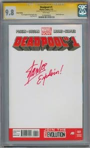 Deadpool #1 Blank Variant CGC 9.8 Signature Series Signed Stan Lee Excelsior Inscripton Marvel Now