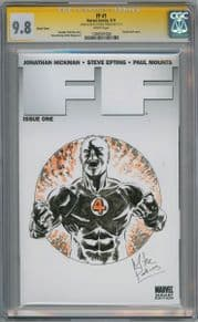 FF #1 Blank CGC 9.8 Signature Series Signed Mike Perkins Human Torch Sketch Fantastic Four Marvel