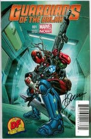 Guardians Of The Galaxy #1 Dynamic Forces Deadpool Variant Signed Justin Ponsor Movie Marvel comic book