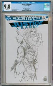 Justice League #1 Michael Turner Aspen Sketch Variant CGC 9.8 DC  comic book JLA