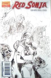 Red Sonja #40 B&W Black & White Renaud Sketch Variant (2008) Dynamite Entertainment comic book