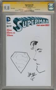 Superman #32 Blank CGC 9.8 Signature Series Signed John Romita Jr Sketch Remarked OA DC comic book