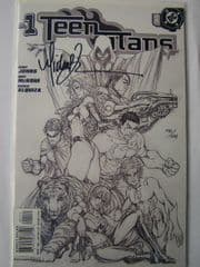 Teen Titans #1 Turner Sketch Cover DF Signed Michael Turner COA Ltd 199
