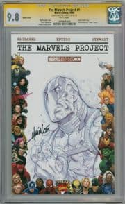 The Marvels Project #1 Blank  CGC 9.8 Signature Series Signed Lee Deadpool Sketch comic book