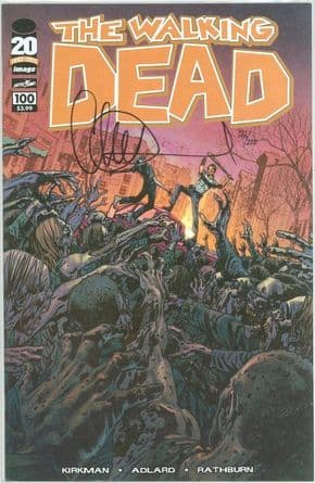 The Walking Dead #100 Hitch Cover F Dynamic Forces Signed  Charlie Adlard DF COA Image comic book
