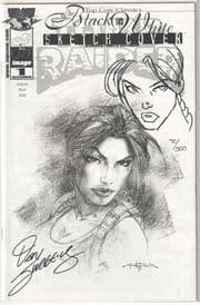 Tomb Raider #1 Dynamic Forces Black & White Variant Signed Dan Jurgens Remarked Sketch DF COA A