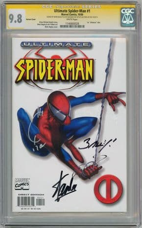 Ultimate Spider-man #1 White Variant CGC 9.8 Signature Series x3 Signed Stan Lee comic book