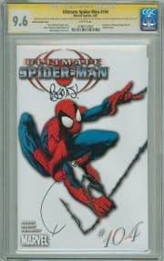 Ultimate Spider-man #104 White Variant CGC 9.6 Signature Series Signed x3 Bendis Bagley Sketch