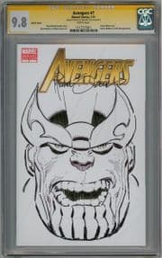 Avengers #7 CGC 9.8 Signature Series Signed Mike Zeck Thanos Sketch OA Movie Marvel comic book