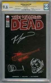 Walking Dead #100 Lucille Variant CGC 9.6 Signature Series Signed Robert Kirkman & Charlie Adlard Rick Sketch Image comic book